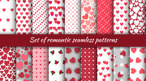 Set of seamless romantic patterns with hearts and roses for the Day of St. Valentine. Royalty Free Stock Image