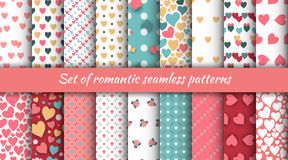 Set of seamless romantic patterns with hearts and roses for the Day of St. Valentine. Stock vector Stock Photos