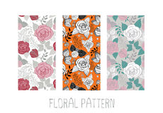 Set of seamless rose patterns. Set of seamless hand-drawn backgrounds of roses and leaves Stock Photo