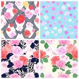 Set of seamless roses patterns.Vector illustration. Set of seamless roses patterns. Flowers background. Decorative ornament backdrop for textile, wrapping paper Royalty Free Stock Images