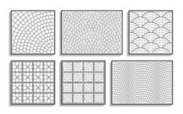 Set of seamless round pavement textures. Black and white patterns of stone material vector illustration