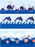 Set of Seamless sea borders with dolphins Royalty Free Stock Photos