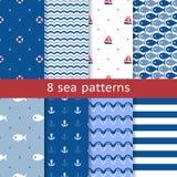 Set of seamless sea patterns Stock Photos