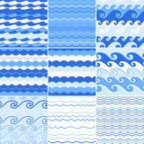 Set of seamless sea waves patterns. Ocean background Royalty Free Stock Photography
