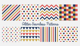 Set of seamless simple cute baby patterns with glitter elements. Includes blue, red and golden stars, hears, stripes, zigzag, flag Stock Photo