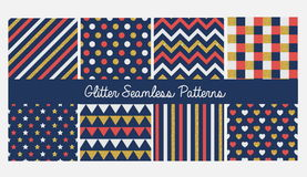 Set of seamless simple cute baby patterns with glitter elements. Includes white, red and golden stars, hears, stripes, zigzag, fla Royalty Free Stock Photos