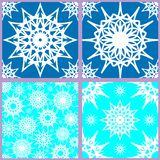 Set of seamless snowflake patterns stock illustration