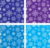 Set of seamless  with snowflakes Stock Photo