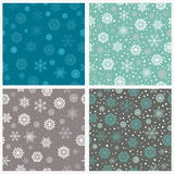 Set of seamless snowflakes background. Vector illustration. Wallpaper patterns stock illustration