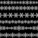 Set of seamless snowflakes borders. Stock Image