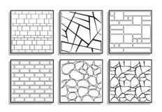 Set of seamless stone textures. Black and white patterns of brick material stock illustration
