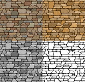 Set Seamless Stone Textures. Set 4 Seamless Grunge Stone Brick Wall Texture with various variants of color. Vector Illustration Stock Photo