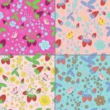 Set of seamless strawberry patterns Royalty Free Stock Image