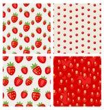 Set seamless strawberry texture berry pattern stock illustration