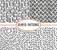 Set of seamless stroke patterns. Black and white. Royalty Free Stock Photo