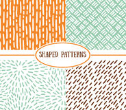 Set of seamless stroke patterns. Hand-drawn background. Stock Image