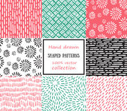 Set of seamless stroke patterns. Hand-drawn background.