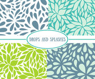 Set of seamless stylish patterns with drops. Stock Photo