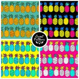 Set of seamless summer pattern with tropic pineapple For teenagers Royalty Free Stock Photography