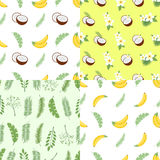 Set of seamless summer patterns. Backgrounds with leaves of a palm tree, fruits, flowers and coconuts. Vector illustration. Easy to use for backdrop, textile Stock Image
