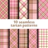 Set of 10 seamless tartan pattern Stock Image