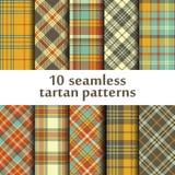 Set of 10 seamless tartan pattern Stock Photos