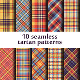 Set of seamless tartan patterns. Set of 10 seamless tartan patterns Stock Illustration