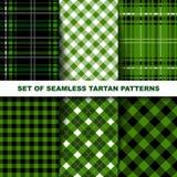 Set of seamless tartan patterns. Green version. Royalty Free Stock Photos