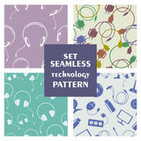 Set of seamless technology vector patterns Stock Image