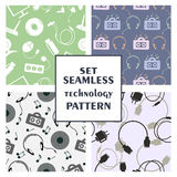 Set of seamless technology vector patterns Stock Images