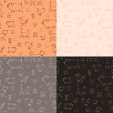 Set of 4 seamless texture with animals and eggs Stock Photos