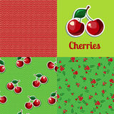 Set seamless texture cherry. Cherries seamless pattern. Cherries background. Cherry logo Royalty Free Stock Image