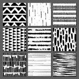 Set of 9 seamless texture. Drops, points, lines, stripes, circles, squares, rectangles. Abstract forms drawn a wide pen and ink. Backgrounds in black and white royalty free illustration