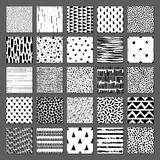 Set of 25 seamless texture. Drops, points, lines, stripes, circles, triangles, rectangles. Abstract forms drawn a wide pen and ink. Backgrounds in black and stock illustration