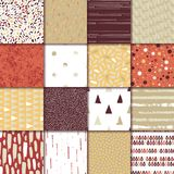 Set of 16 seamless texture. Drops, points, lines, stripes, circles, triangles, rectangles. Abstract forms drawn a wide pen and ink. Backgrounds in beige, red royalty free illustration