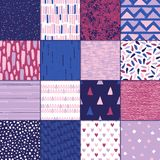 Set of 16 seamless texture. Drops, points, lines, stripes, circles, triangles, rectangles. Abstract forms drawn a wide pen and ink. Backgrounds in pink, blue Stock Photography
