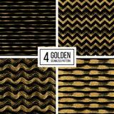Set of seamless texture golden lines, wave, zig zag stripe, chevron Royalty Free Stock Photos