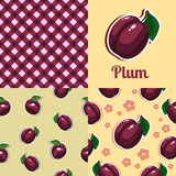 Set seamless texture with plums. A set of seamless textures with plums. Vector illustration Royalty Free Stock Photography
