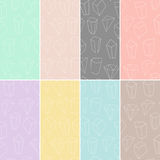 Set of 8 seamless textures with geometric outline shapes and crystals. Hipster modern patterns collection. Vector Illustration. Stock Photography