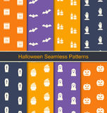Set Seamless Textures with Halloween Symbols Stock Image
