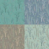 Set of 4 seamless textures with twigs and flowers Royalty Free Stock Photo