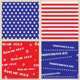 Set of seamless textures with USA Independence Day Stock Images