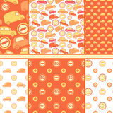 Set of seamless toy cars patterns - orange vector Royalty Free Stock Photos