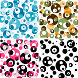 Set seamless translucent patterns. Set seamless patterns with black and translucent colorful and dotted balls (vector EPS 10 Royalty Free Stock Photography