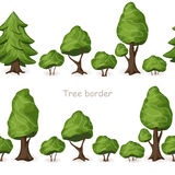 Set of seamless tree borders. Vector green forest background Royalty Free Stock Images