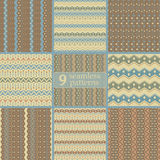 Set of seamless tribal color patterns with zigzags and dots Stock Images