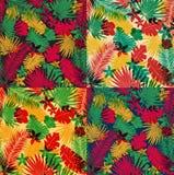 A set of seamless tropical jungle patterns Stock Photo