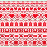 Set of seamless valentine day borders. Elements for wedding theme or love or birthday. Vector illustration vector illustration