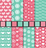 Set seamless Valentine Day textile patterns Royalty Free Stock Photography