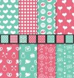 Set seamless Valentine Day textile patterns Stock Photo